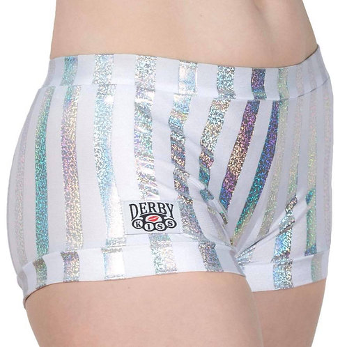 White and Holographic striped Shorts