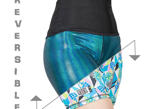 NEW Pineapple/ Holographic Blue-Green Reversible Shorts
