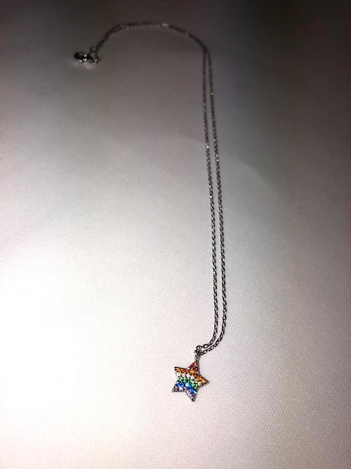 Rainbow Star Silver Necklace