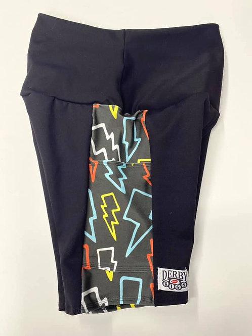 Side Panel Lightning Bolt Biker/Custom Length Shorts