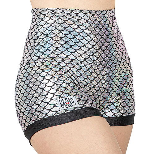Holographic Silver Scale Shorts