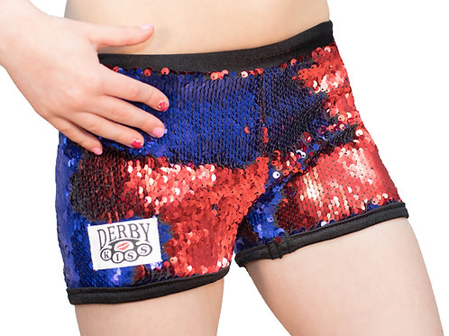 SLIM FIT KIDS Red/Blue Color Changing Sequin Shorts