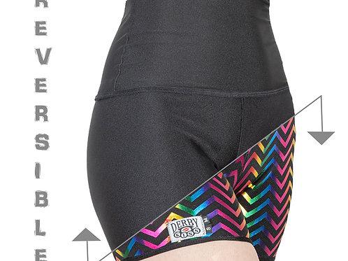 NEW Black/ Rainbow Foil Chevron Reversible Shorts