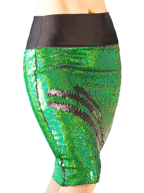 Holographic Green/Black Pencil Skirt