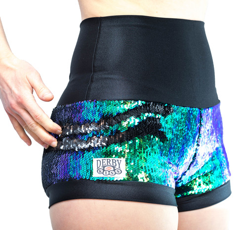 Blue Green and Black sequin color changing shorts | derby-kiss