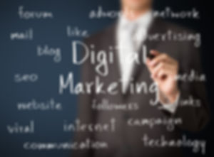 Digital marketing word cloud - website campaign management socil media seo sem