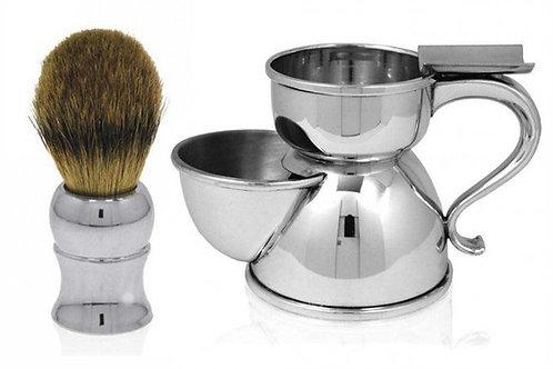 English Pewter Shaving Mug & Brush Set