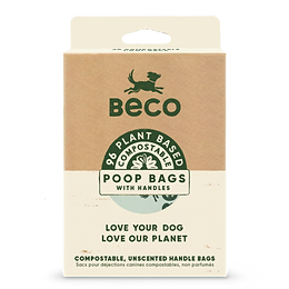 Compostable poo bags with handles