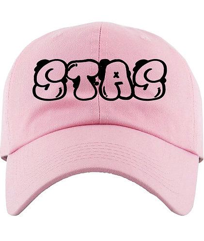 Light pink and black dad hat