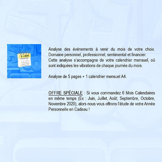 CALENDRIER -  1 MOIS - VIBRATIONS POUR 1 PERSONNE
