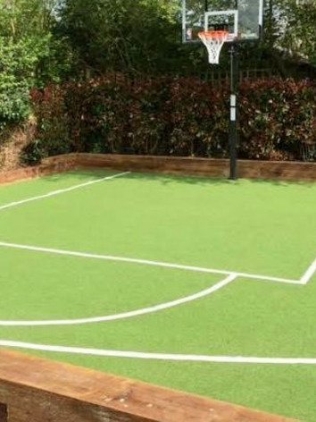 Basket ball court redone with sports turf.