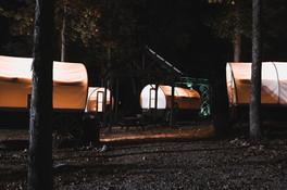 Covered Wagons at Night