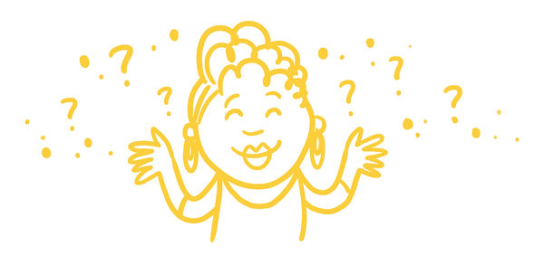 Smiling woman in questioning stance with arms raised, surrounded by question marks