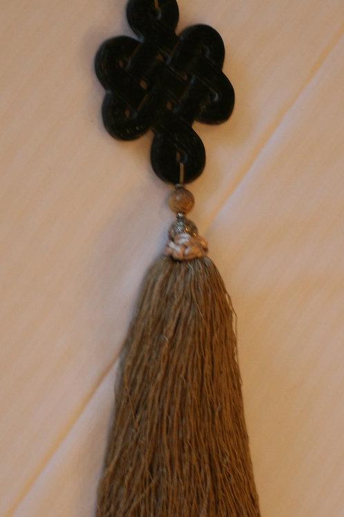 Black stone knot tassel