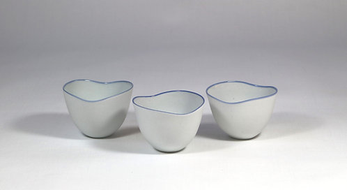 White porcelain cups, heart shaped.Sold per pair.
