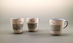 porcelain cups, black slip decoration gl