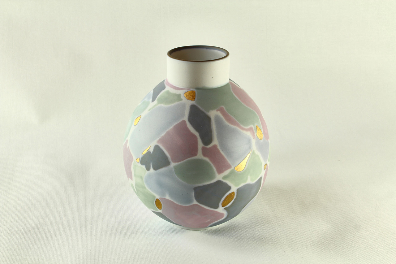 multicolor and gold porcelain vase