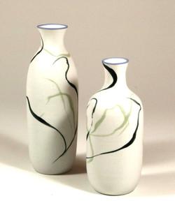 Porcelain bottles, black slip and green