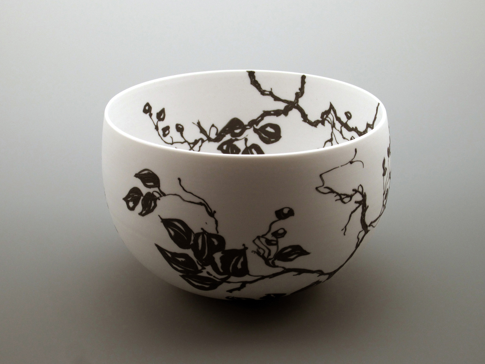 Black on white porcelain bowl