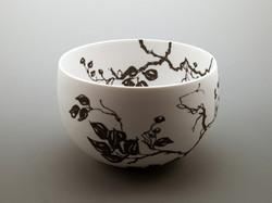 Black on white porcelain bowl