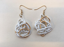 Porcelain earrings. Gold luster