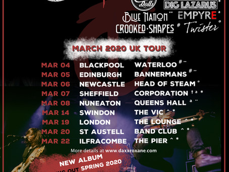 Support acts announced for our March UK Tour