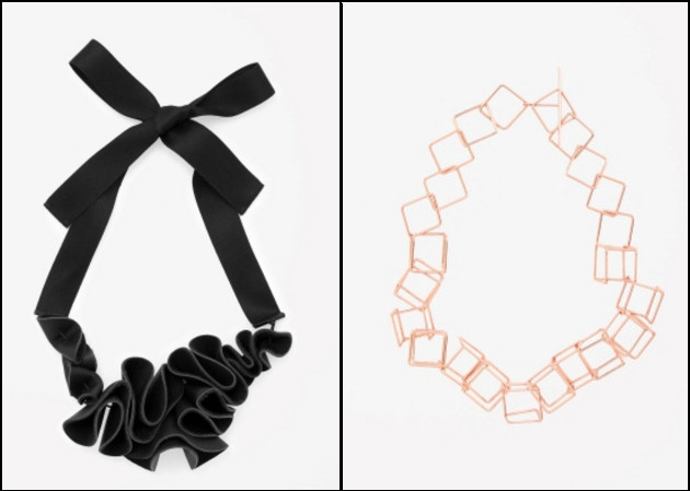 Leather with ribbon necklace and cube necklace