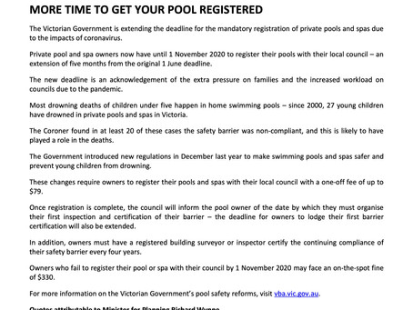 MORE TIME TO GET YOUR POOL REGISTERED
