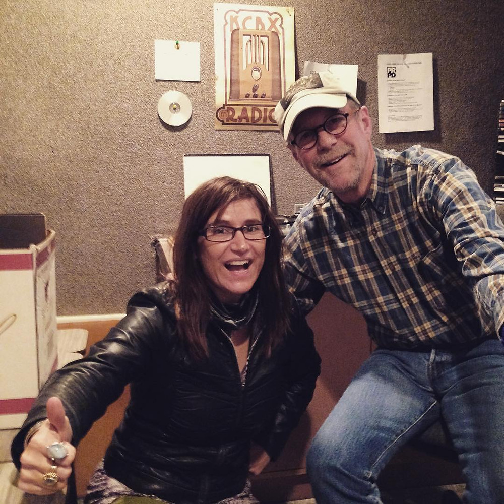 Rob (Robbie!) Kimball and I in the KCBX studios