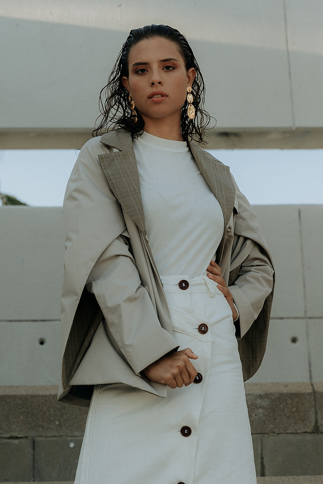 Charlotte Deckers Photography   Fashion Editorial Photoshoot Exterior Female Model with white clothes