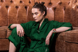 Charlotte Deckers Photography   Fashion Editorial Interior Photoshoot Female Model green jumpsuit