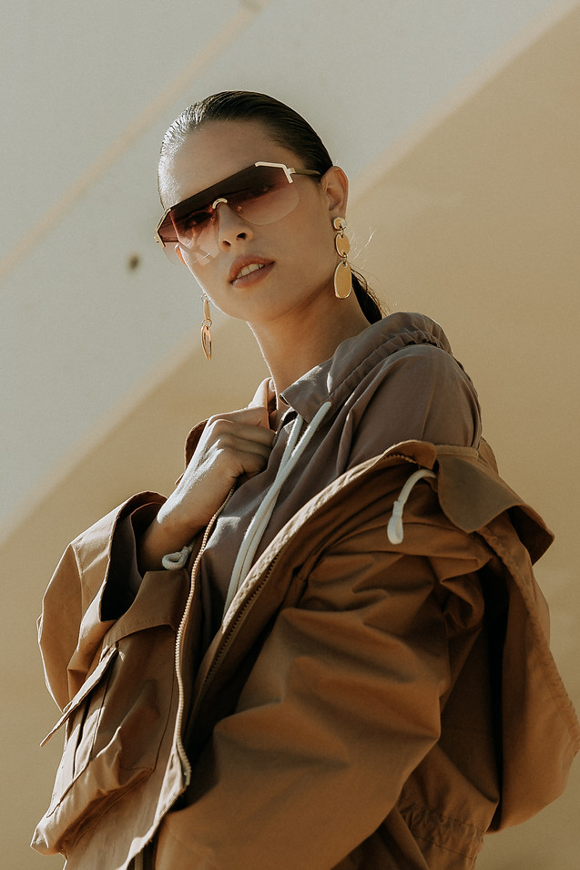 Charlotte Deckers Photography   Fashion Editorial Photoshoot Exterior Female Model with sunglasses