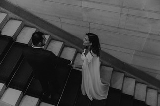 Charlotte Deckers Photography | Wedding Photographer | Bridal Couple walking Stairs Black & White