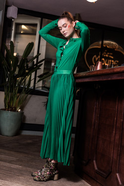 Charlotte Deckers Photography   Fashion Editorial Interior Photoshoot Female Model Green Dress