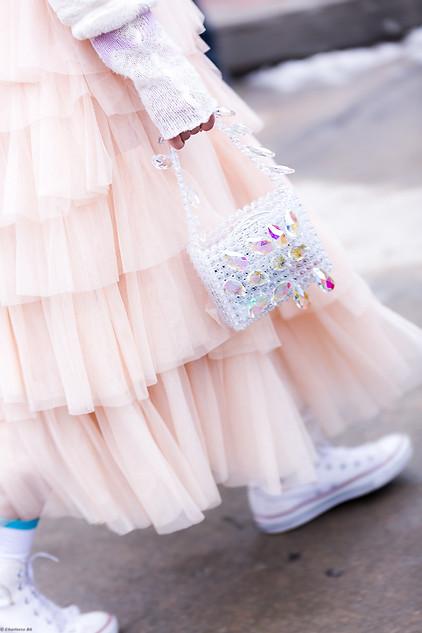 Charlotte Deckers Photography   FashionWeek NewYork AW19 Fashion Streetstyle CloseUp bag & dress
