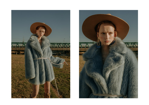 Charlotte Deckers Photography   Fashion Editorial Photoshoot Exterior Female Model wearing fake fur