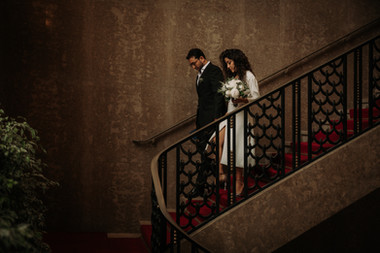 Charlotte Deckers Photography | Wedding Photographer | Couple walking down the stairs Town Hall