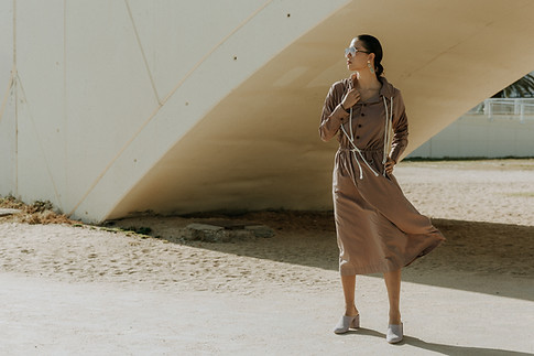 Charlotte Deckers Photography | Fashion Editorial Photoshoot Exterior Female Model with wind