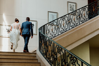Charlotte Deckers Photography | Wedding Photographer | Bridal Couple Walking Stairs Town Hall