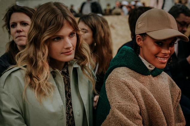 Charlotte Deckers Photography   FashionWeek Paris AW20 Fashion Streetstyle Lacoste Constance Jablonski & Tina Kunakey