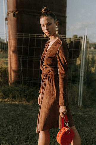 Charlotte Deckers Photography | Fashion Editorial Photoshoot Exterior Female Model walking in dress