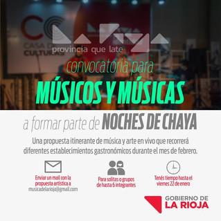 """El Gobierno de La Rioja convoca músicos y músicas para participar de la movida """"Noches de Chayas"""""""