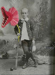Madame Huguette decoration photo ancienne vintage enfant portrait plantes montros montres original idée cadeau fête des mères broderie etsy fait main cadre photo maman