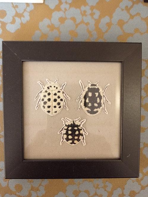Cadre 3 insectes blanc et noir