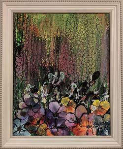 Shaded light on assortment of flowers