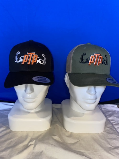 PTP orange font trucker snap back hat