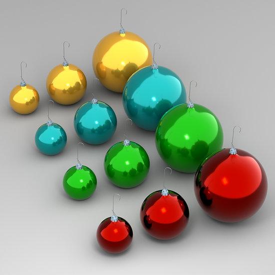 Ornaments Set, Four Colors, Three Sizes