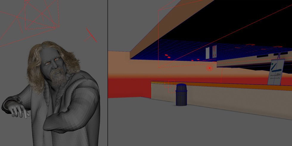 Left: Image simply shows character with referenced assets and lights. Right: Since the background ended in a blur it was not necessary to overdue detail to achieve environment likeness.