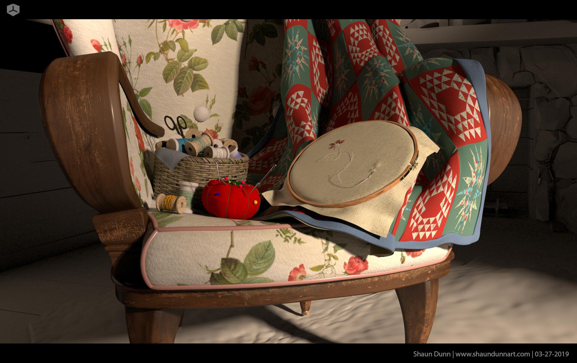 Early texture work on grandma's chair.