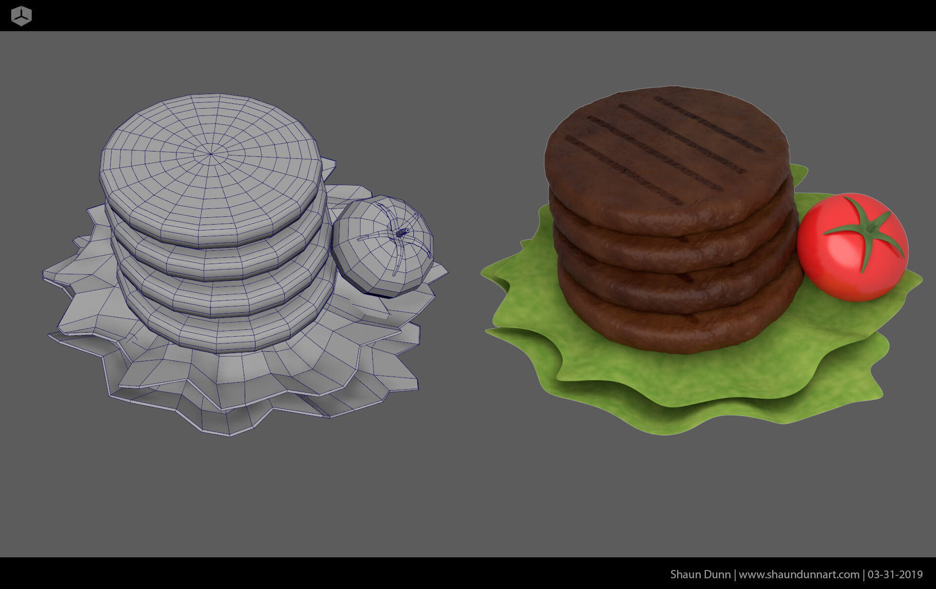 I created stylized canned 3D burger patties so I could project the rendered image on one of my canned goods.